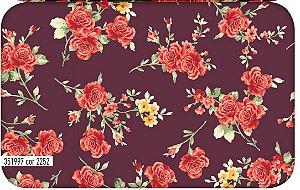 Tecido Círculo Tricoline Rosas Bordô - 2252 - 0,50cmx1,46 Mts