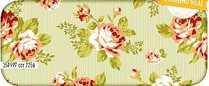 Tecido Círculo Floral Viena Beje  - 2256 - 0,50cmx1,46 Mts