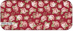 Tecido Círculo Floral Viena Rosas Pequenas- Cor 2258- 0,50cmx1,46 Mts