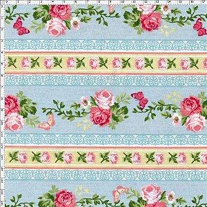 Tecido Círculo Jardim de Rosas FAIXAS AZUIS- 2099 - 0,50cmx1,46 Mts