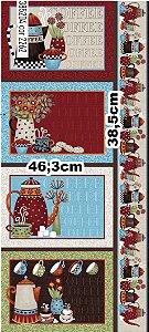 Tecido Patchwork Circulo Jogo Americano Coffee -  2262 - 0,61x1,46mts
