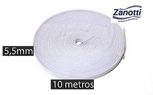 Elástico Chato 5,5 mm Zanotti Branco - 10 metros