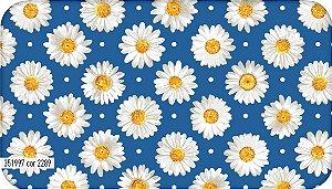Tecido Círculo Margaridas Azul - 2289 - 0,50cmx1,46 Mts