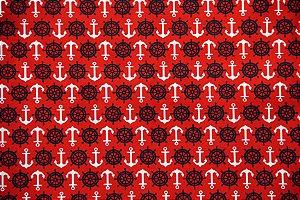 Tecido Círculo Navy Âncora Vermelha - 2241 - 0,50cmx1,46 Mts