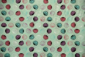 Tecido Círculo Conchas Sereias - 1689 - 0,50cmx1,50 Mts