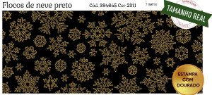 Tecido Círculo Flocos de Neve PRETO- 2311 - 0,50cmx1,50 Mts