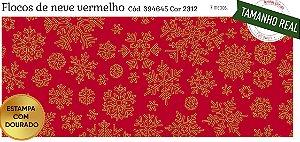 Tecido Círculo Flocos de Neve VERMELHO- 2311 - 0,50cmx1,50 Mts