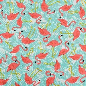 Tecido Tricoline Círculo Flamingos azuis -2109 - 50cmX1,50cm