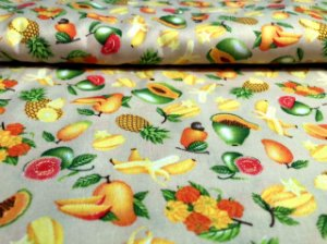 Tecido Círculo Mini Frutas Tropicais - cor 2370 - 0,50cm X 1,50 Mts
