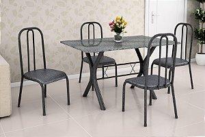 Mesa 1,10 com 4 Cadeiras Preto