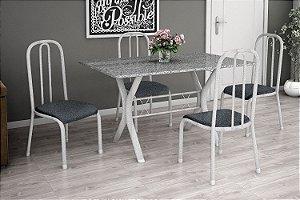 Mesa 1,10 com 4 Cadeiras Estofadas Branca