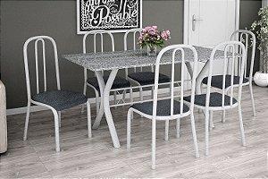 Mesa 1,50 com 6 Cadeiras Estofadas Branca