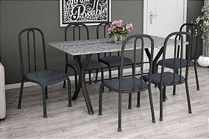 Mesa 1,50 com 6 Cadeiras Estofadas Preto