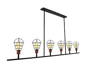Pendente Brooklyn 6 Lâmpadas Design Retrô