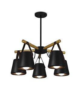 Pendente Vellar 5 com detalhe em madeira e couro Exclusividade