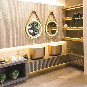 Espelho Decorativo com cinta de couro Linha Spechio 50cm (Para fita de led)