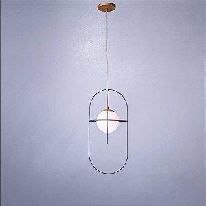 Pendente Arus 1 Globos de Vidro fosco com Detalhe em Arame Confira
