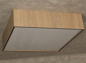 Plafon de Sobrepor Quadrado 70cm Madeira e Acrílico PL05/EE Exclusividade