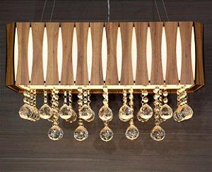 Pendente Ripado Retangular 50x25cm Madeira, Acrílico e Cristal PEC06/M Aproveite