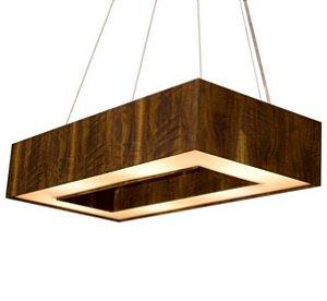 Pendente Retangular 60x25cm Madeira, Acrílico e Cristal PEA12/G Aproveite
