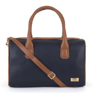 Bolsa Bau Feminina Cor Azul e Caramelo Acompanha Alça Removível  Modelo Rosa Marca Lefity
