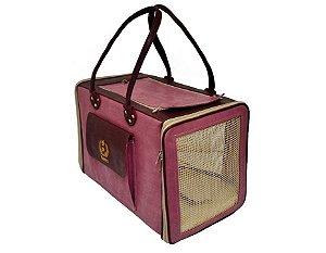 Bolsa Transporte para Cães e Gatos em Couro Ecológico