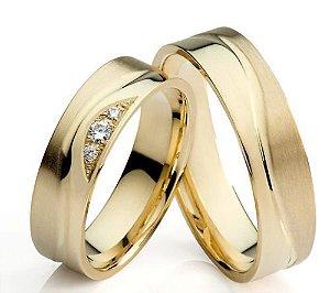 Par De Alianças Em ouro18k750 + Diamantes 18,0grs Jóias Arts