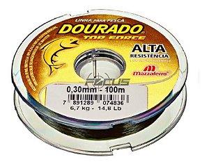 LINHA DOURADO TOP FORCE VERDE OLIVA 100MTS 0.30 C/20PC