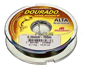 LINHA DOURADO TOP FORCE VERDE OLIVA 100MTS 0.35 C/20PC