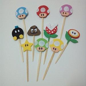Enfeites para doces e Cupcakes - kit com 50 Toppers da Turma do Mario Bros de eva