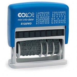 Carimbo Datador Colop Mini-info S 120/WD - 4x42 mm (vários dizeres e data)