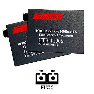 Conversor de mídia Htb-1100s 25km | PAR -  FIBRA DUPLA - MONO-MODO - NetLink