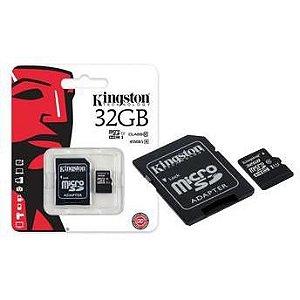 Cartão de memória Kingston 32GB Micro SD HC com adaptador