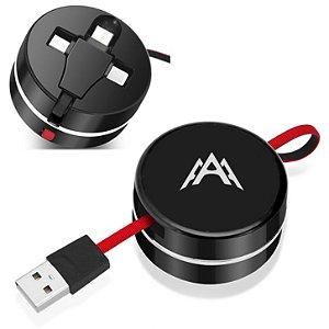 Cabo de carregamento USB retrátil 3 em 1