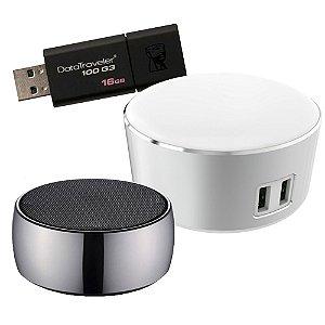 Combo Home Office 1 - Abajur com USB duplo + caixa de som bluetooth + pendrive 16gb