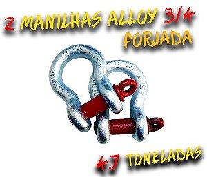 2 Manilhas Curva Alloy 3/4 Forjada - Pino roscado Vermelho - 4.7 Toneladas