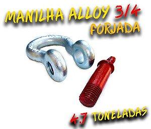 Manilha Curva Alloy 3/4 Forjada - Pino roscado Vermelho - 4.7 Toneladas