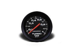 Manômetro Cronomac Pressão Turbo 1kg / 52mm - Preto / Branco