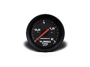 Manômetro Cronomac Pressão Turbo 2kg / 52mm -  Preto / Branco