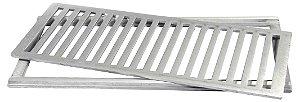 Grelha com Porta Grelha em Alumínio Escovado 20x50cm LGMAIS