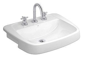 Lavatório para Banheiro L-82 GE17 Monte Carlo Semi Encaixe Branco Deca