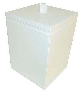 Lixeira Quadrada Branco Liso Cubalux