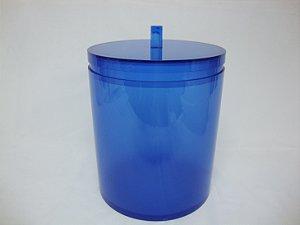 Lixeira Redonda Azul Liso Cubalux