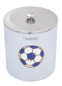 Lixeira Azul com Tampa Inox útil 5 litros Tramontina