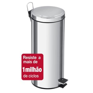 Lixeira Inox com Pedal Brasil 30 litros Tramontina
