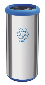 Lixeira Inox Capsula Selecta Plus Azul 40 litros Tramontina