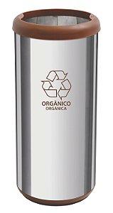 Lixeira Inox Capsula Selecta Plus Marrom 40 litros Tramontina