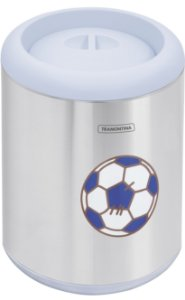 Lixeira Inox Tampa Azul Capsula 7 litros Tramontina