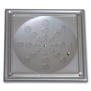 Grelha Quadrada Inox com Caixilho com Fecho Cromada 15cm 008-P Estilmax