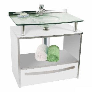 Gabinete Cris-Mold 70cm com Gaveta Branca Ref.997 Cris-Metal
